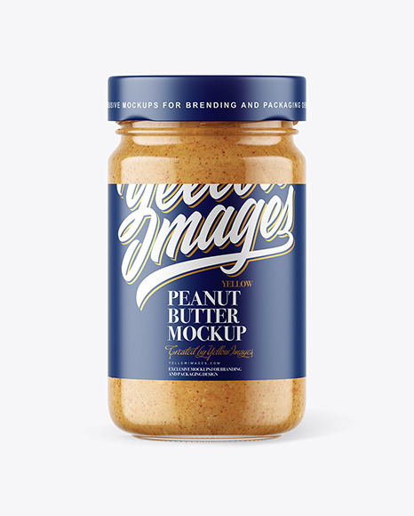 Clear Glass Jar with Crunchy Peanut Butter Mockup