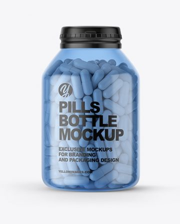 Blue Plastic Pills Bottle Mockup