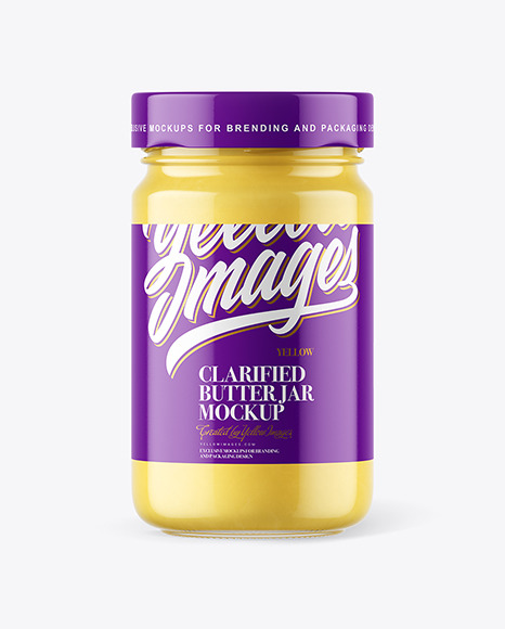 Clear Glass Jar with Ghee Clarified Butter Mockup