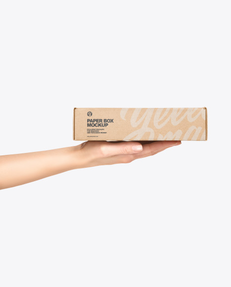 Paper Box in a Hand Mockup