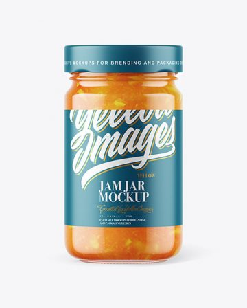 Clear Glass Jar with Orange Jam Mockup
