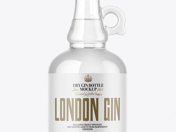 Clear Glass Gin Bottle Mockup
