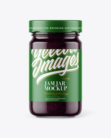 Clear Glass Jar with Blueberry Jam Mockup