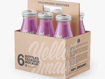 6 Pack Smoothie Bottle Carrier Mockup