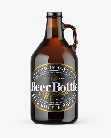 32 oz Amber Glass Beer Bottle Mockup