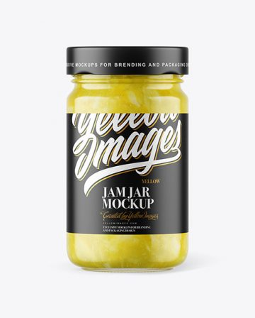 Clear Glass Jar with Lemon Jam Mockup