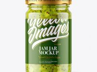 Clear Glass Jar with Kiwi Jam Mockup