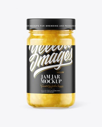 Clear Glass Jar with Pear Jam Mockup