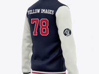 Men's Varsity Jacket Mockup - Back Half Side View