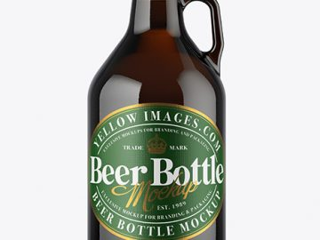 32 oz Dark Amber Glass Beer Bottle Mockup