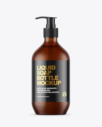 Frost Amber Liquid Soap Bottle with Pump Mockup