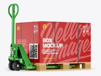 Hand Pallet Truck & Paper Box Mockup