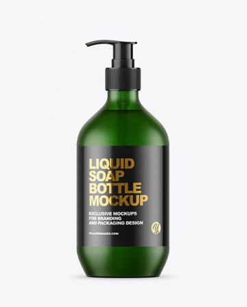 Frost Green Liquid Soap Bottle with Pump Mockup
