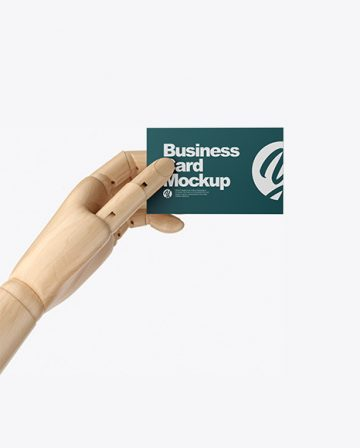 Wooden Hand With Business Card Mockup