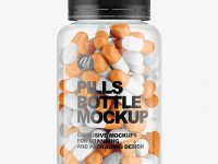 Clear Plastiс Bottle With Pills Mockup
