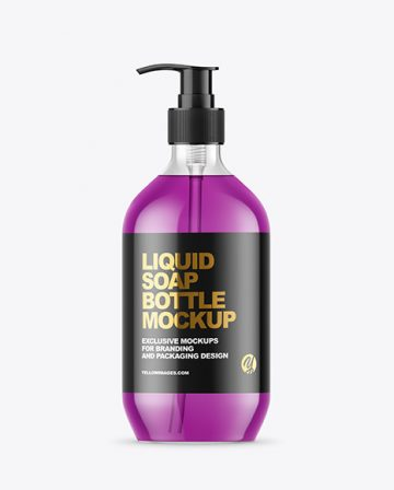 Clear Colored Liquid Soap Bottle with Pump Mockup