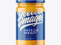 Clear Glass Jar with Curry Sauce Mockup