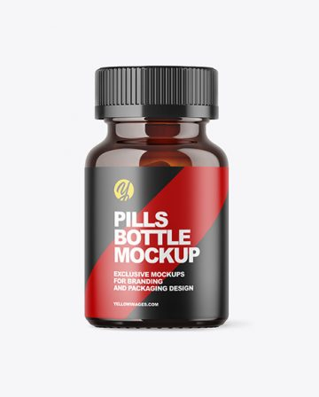 Amber Pills Bottle Mockup