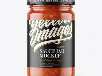 Clear Glass Jar with Tomato Meat Sauce Mockup