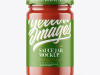 Clear Glass Jar with Tomato Sauce Mockup