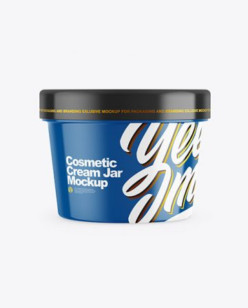 Glossy Cosmetic Cream Jar Mockup