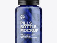 Blue Bottle With Pills Mockup