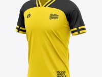 Men's Soccer Jersey T-Shirt Mockup - Front Half-Side View - Football Jersey Soccer T-shirt