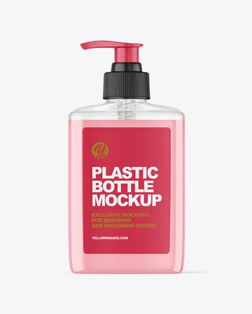 Clear Plastic Bottle with Pump Mockup