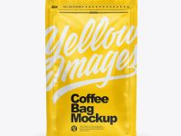 Glossy Coffee Bag Mockup with Zipper - Front View