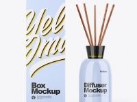 Glossy Diffuser Bottle W/ Paper Box Mockup