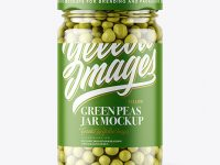Clear Glass Jar with Green Peas Mockup