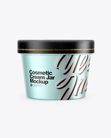 Metallic Cosmetic Cream Jar Mockup