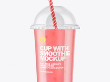 Strawberry Smoothie Cup with Transparent Cap Mockup