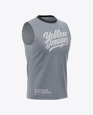 Men's Heather Sleeveless T-Shirt Mockup - Front Half Side View