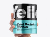 Metallic Paint Bucket in Hand Mockup - Front View