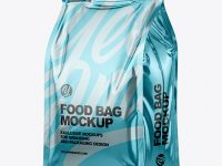 Glossy Metallic Food Bag Mockup