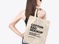 Woman w/ Cotton Bag Mockup