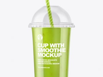 Green Smoothie Cup with Transparent Cap Mockup
