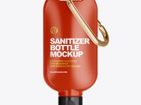 Glossy Sanitizer Bottle with Carabine Mockup