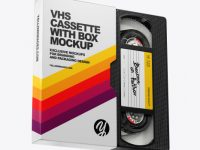 VHS Cassette with Box Mockup
