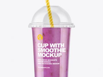 Bluueberry Smoothie Cup with Transparent Cap Mockup