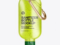 Clear Sanitizer Bottle with Carabine Mockup