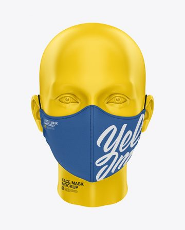 Face Mask with Elastic Cord and Stopper - Front View