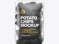 Matte Bag With Corrugated Black Potato Chips Mockup