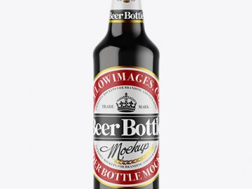 Amber Glass Dark Beer Bottle Mockup