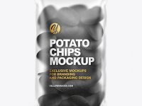 Matte Bag With Black Potato Chips Mockup