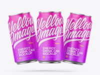 Three Metallic Cans W/ Matte Finish Mockup