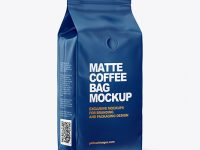Matte Coffee Bag with Valve Mockup - Half Side View