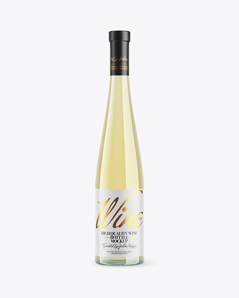 Glass White Wine Bottle Mockup