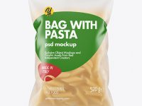 Frosted Plastic Bag With Pennoni Rigati Pasta Mockup